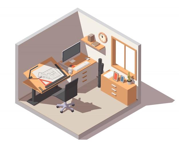 Estudio de diseño con escritorio, silla y cajones ajustables.