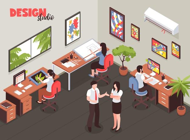 Estudio de diseño con liderazgo y artistas durante el proceso creativo en el lugar de trabajo ilustración vectorial isométrica