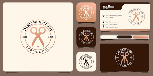 Estudio de diseño de logotipos, con diseño de logo de combinación de bolígrafo y tijera vector premium