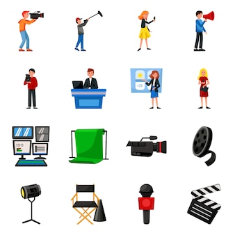 Estudio de elementos de dibujos animados de noticias. establecer ilustración de noticias y producción de televisión. conjunto de elementos camera.microphone para estudio.