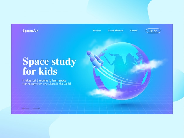 Estudio espacial para niños página de aterrizaje con cohete moviéndose alrededor del globo terráqueo en cuadrícula azul.