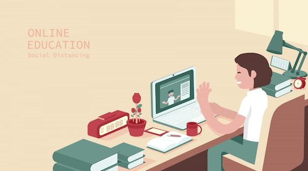 Estudio estudiantil en computadora, examen en línea, cuestionario en internet, ilustración
