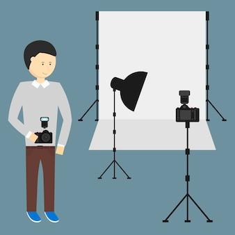 Estudio de fotografía con una configuración de luz