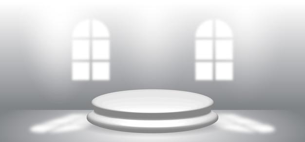 Estudio de habitación vacía gris con ventanas y podio circular