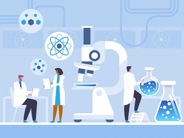 Estudio de laboratorio químico en estilo plano