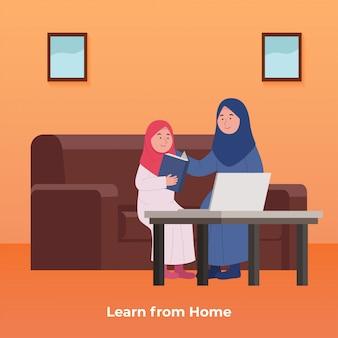 Estudio en línea en casa niña árabe aprende con su madre