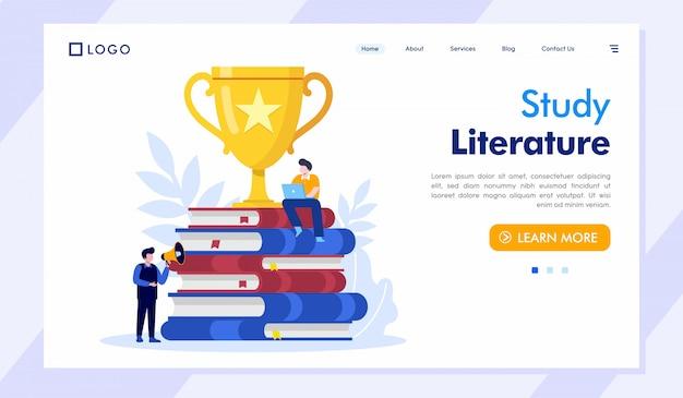 Estudio literatura página de inicio sitio web ilustración vector