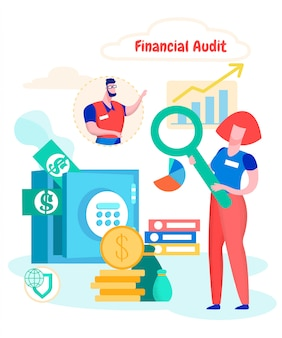 Estudio mujer auditoría financiera de la compañía de efectivo