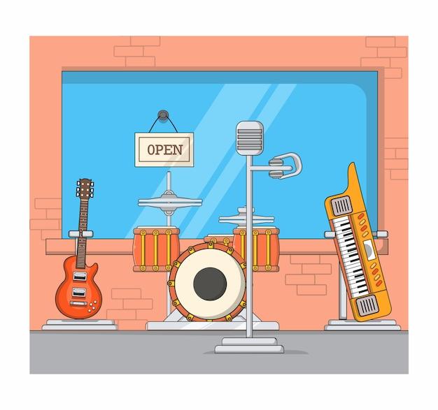 Estudio de musica diseño plano