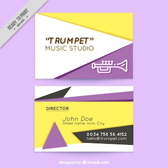 Estudio de música trumpet, tarjeta de visita