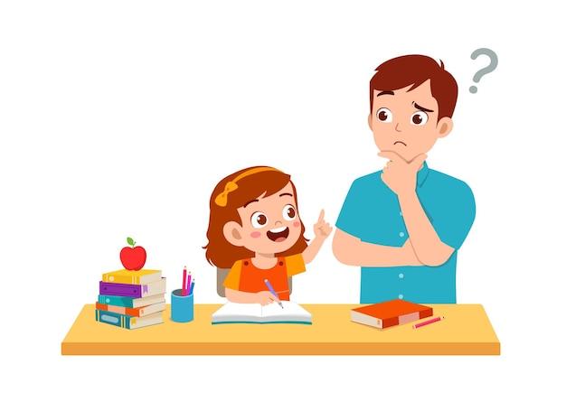 Estudio de niña linda con padre en casa juntos