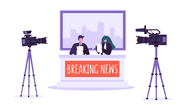 Estudio de noticias de última hora, medios de comunicación. personajes de periodistas profesionales leyendo noticias urgentes. estudio de tv con videocámaras, micrófonos. programa de noticias en vivo.