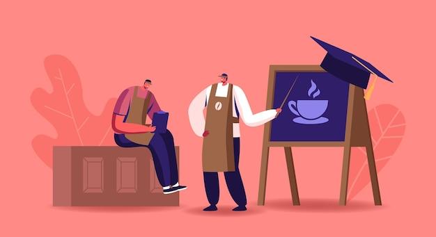 Estudio de personaje masculino haciendo café en la ilustración de la escuela barista
