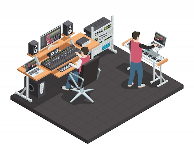 Estudio de producción musical. sala interior isométrica con ingeniero de sonido y productor de arreglos. workpla