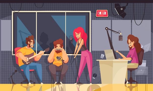 Estudio de radio con ilustración plana de grabación de música