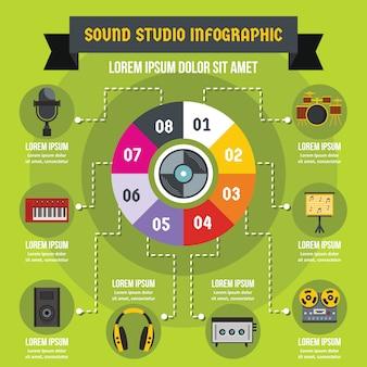 Estudio de sonido concepto infográfico, estilo plano.