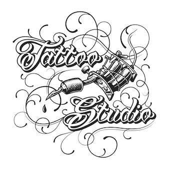 Estudio de tatuaje vintage logotipo monocromo