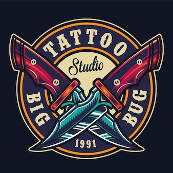 Estudio de tatuajes coloridos impresión redonda