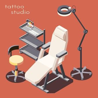Estudio de tatuajes, equipo de mobiliario profesional, ilustración isométrica con lámpara de pie de estación de trabajo con sillón de cliente