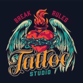 Estudio de tatuajes vintage colorido bagde