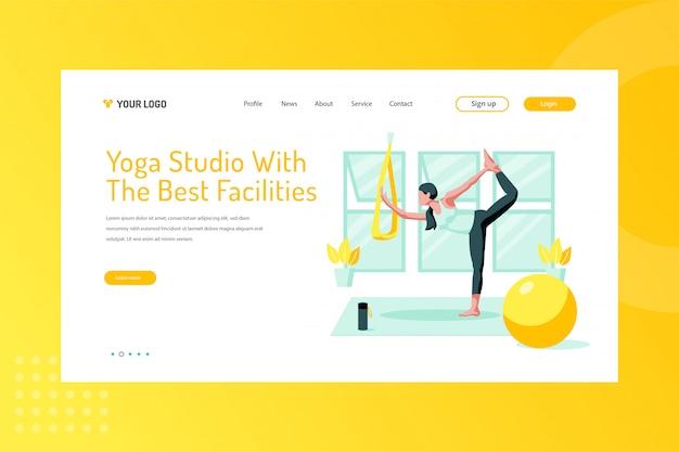 Estudio de yoga con la mejor ilustración de instalaciones en la página de destino.