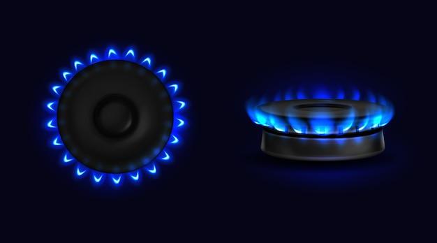 Estufa de gas ardiente con vista superior y lateral de llama azul