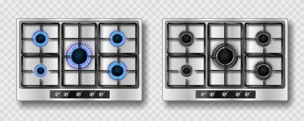 Estufa de gas con llama azul y rejilla de acero negro.