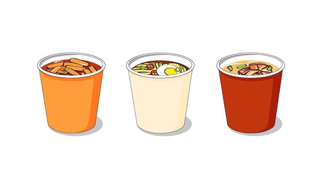 Et de platos tradicionales coreanos en tazas instantáneas para llevar tteokbokki ramen sopa picante de camarones