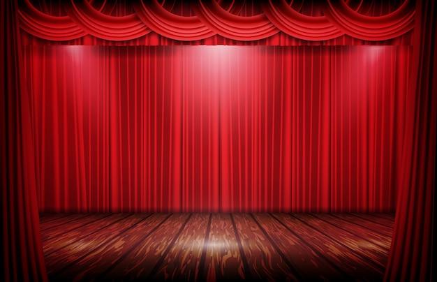 Etapa de fondo abstracto de cortina roja y piso de madera
