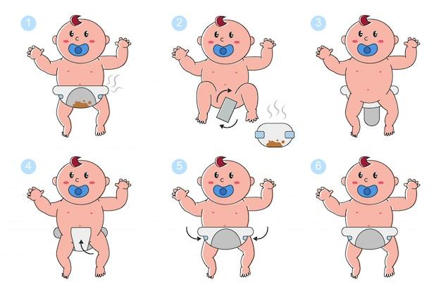 Etapas de cambio de pañales en conjunto de dibujos animados de vector de bebé recién nacido aislado