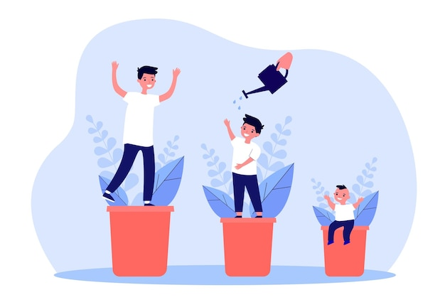 Etapas de crecimiento del niño en forma de planta. ilustración de vector plano. recién nacido, niño en edad escolar y adolescente regado con regadera, que cambia con la edad. creciendo, jardinería, concepto de infancia