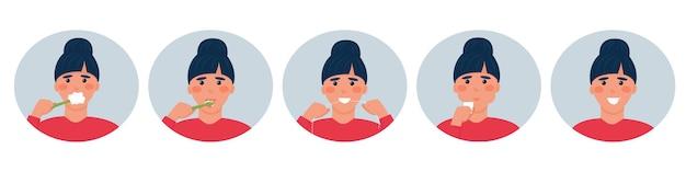Etapas del cuidado bucal. conjunto de 5 imágenes: cepillado de dientes, lengua, hilo dental, enjuague, sonrisa sana. ð¡ute personaje de dibujos animados mujer. cuidado e higiene dental. ilustración vectorial, plana