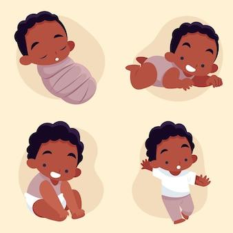 Etapas de diseño plano de un bebé.