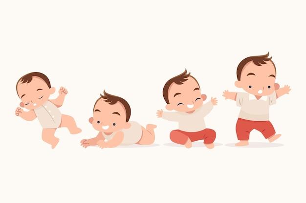 Etapas de diseño plano de una ilustración de bebé niño