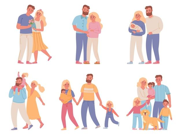 Etapas familiares. amor relación de pareja, matrimonio, mujer embarazada, padres y bebé recién nacido, mamá, papá y niño. conjunto de vectores de desarrollo familiar. ilustración padre madre padre, matrimonio juntos