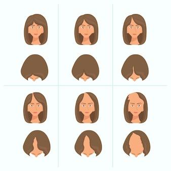 Etapas de pérdida de cabello dibujadas a mano plana