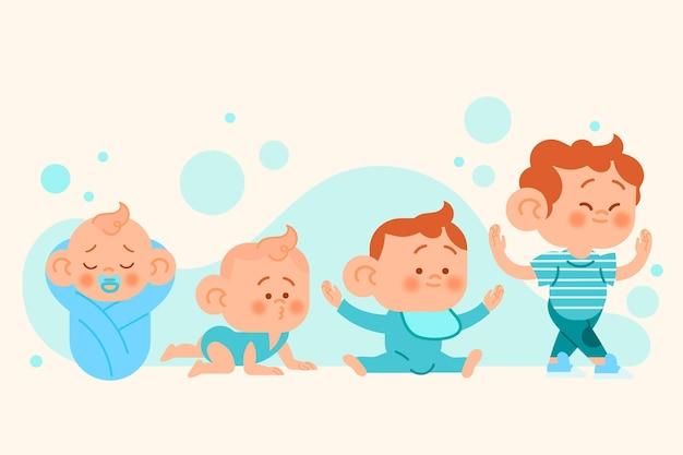 Etapas planas de una ilustración de bebé niño