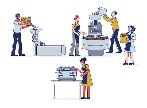 Etapas de producción de café trabajadores de cafeterías tostado moliendo granos