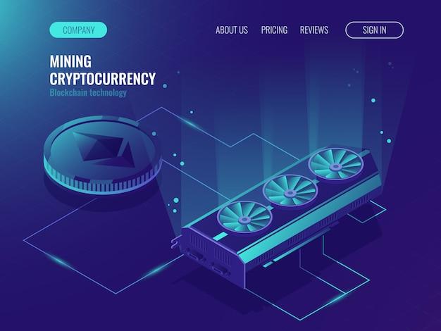 Ethereum blockchain isométrico, procesamiento de datos grandes, rack de sala de servidores