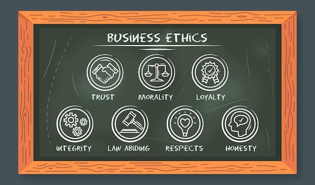 Ética empresarial dibujada a mano con pizarra