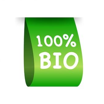 Etiqueta 100% bio. natural, orgánico.