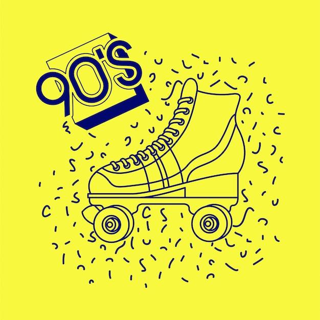 Etiqueta de los 90 con skate retro.
