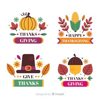 Etiqueta de acción de gracias con texto de saludos