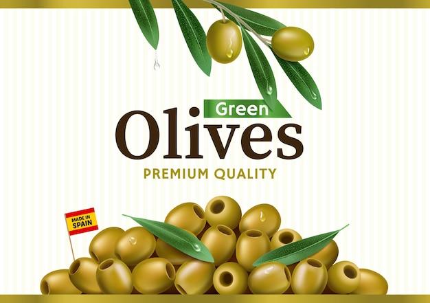 Etiqueta de aceituna verde con rama de olivo realista, diseño para envases de aceitunas enlatadas y aceite de oliva.