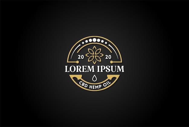 Etiqueta adhesiva de emblema de insignia circular retro vintage para vector de diseño de logotipo de aceite de cáñamo cbd