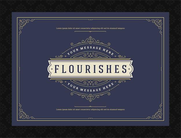 Etiqueta de adorno vintage remolinos ornamentados caligráficos y diseño de marco de viñetas