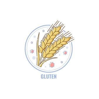Etiqueta de alimentos con gluten, placa redonda con signo de grano de trigo en estilo de dibujos animados dibujados a mano