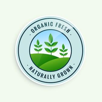 Etiqueta de alimentos orgánicos frescos cultivados naturalmente