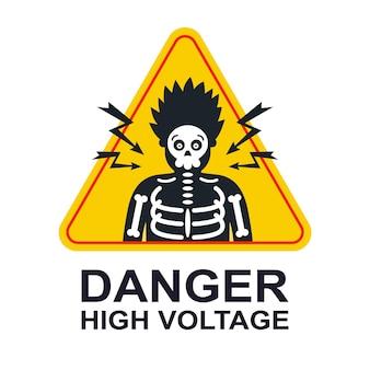 Etiqueta amarilla de precaución de alto voltaje. descarga eléctrica por parte de una persona. ilustración vectorial plana.
