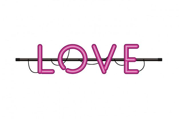 Etiqueta de amor en el icono aislado luz de neón